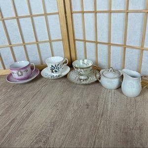 9 pc mismatched tea set